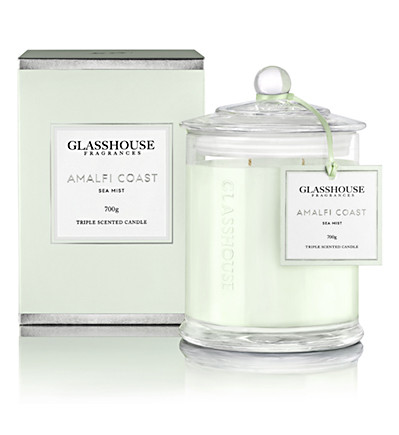 Glasshouse Amalfi Coast Candle (700g) Sea Mist Like driving on a winding Italian road overlooking the stunning ocean, Amalfi Coast will excite and relax in unison. With Freesia, Lavender and Lime, it's as invigorating as an afternoon siesta. Our Triple-Scented Candles are handmade in Australia, using the highest quality non-toxic wax and natural lead-free cotton wicks.